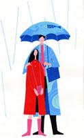一つの傘に入る男女