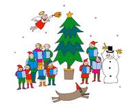 雪降るクリスマスに楽しく聖歌を歌う人々