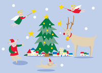 ツリーに天使とトナカイが来た雪降る聖夜の町 02422000056| 写真素材・ストックフォト・画像・イラスト素材|アマナイメージズ