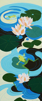 蓮と蛙 02422000089| 写真素材・ストックフォト・画像・イラスト素材|アマナイメージズ