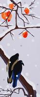 柿と鴉 02422000091| 写真素材・ストックフォト・画像・イラスト素材|アマナイメージズ