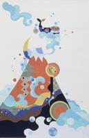 赤富士と鯨 02422000097| 写真素材・ストックフォト・画像・イラスト素材|アマナイメージズ