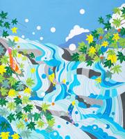 滝ともみじ 夏 02422000150| 写真素材・ストックフォト・画像・イラスト素材|アマナイメージズ