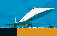 超音速旅客機コンコルドと黒いアヒル