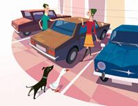 駐車場の3台の車と男女と犬とアヒル