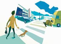 横断歩道をわたる犬の散歩をする男性