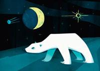 北極グマと月と夜空