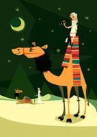 夜の砂漠の大きなラクダと望遠鏡を持った男性