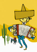 メキシコ人のアコーディオン奏者とロバとサボテン