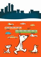車道を歩くクマと鳥とネズミ