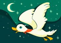 夜空を飛んでいるアヒルと三日月