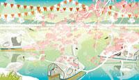 桜の下の池のスワンボート
