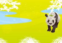 草原のパンダと小鳥