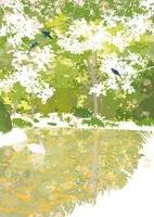 森の池と青い鳥