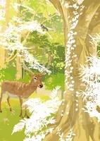 森のなか木の前で佇むレイヨウと鳥