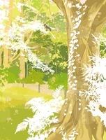 森の巨木と小鳥