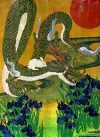 カキツバタの上を飛ぶウサギを背に乗せた龍