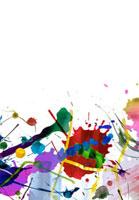 散らしたカラフルな絵具の抽象画