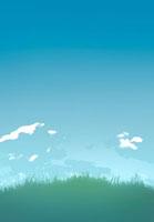 草原と青空と雲のCG