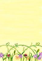 お花とテントウムシのイラスト