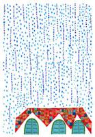 雨とお家のイラスト