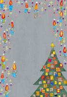 クリスマスツリーとキャンドルのイラスト