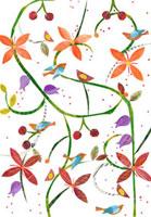 お花とサクランボと鳥のイラスト