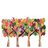 カラフルな木と鳥のイラスト