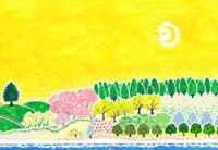 春の里山のイラスト 02427000049| 写真素材・ストックフォト・画像・イラスト素材|アマナイメージズ