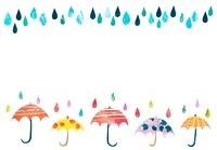 カラフルな傘と雨粒