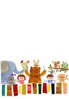 楽器を演奏する動物と子供たち