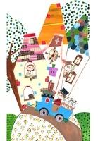 丘の上のお家と牛乳屋さんのイラスト