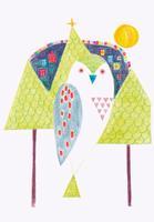 木と鳥のイラスト