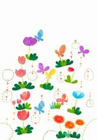 カラフルなお花と蝶