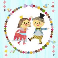 小鳥と輪のなかで踊るこどもたち