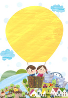 気球に乗るこどもたちと町並み