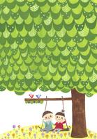 大きな栗の木の下で 02427000146| 写真素材・ストックフォト・画像・イラスト素材|アマナイメージズ