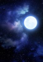 星空に雲と月