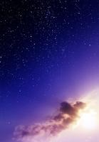 夕焼けと星空