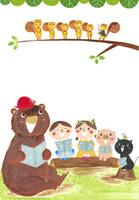 歌をうたう動物と子供たち 02427000184| 写真素材・ストックフォト・画像・イラスト素材|アマナイメージズ