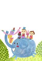 ぞうに乗って出かける動物と子供たち 02427000185| 写真素材・ストックフォト・画像・イラスト素材|アマナイメージズ