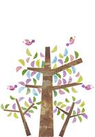 小鳥が居るカラフルな木