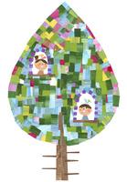 カラフルな木の中の窓から顔を出す女の子と男の子