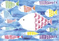 色々な色をしたたくさんの魚のイラスト