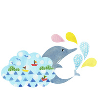 イルカと水しぶき