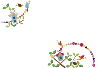 お家をドットで飾る小鳥たち