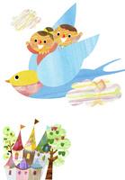 鳥に乗った子供達