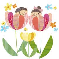 お花と蝶々と子供達 02427000207| 写真素材・ストックフォト・画像・イラスト素材|アマナイメージズ