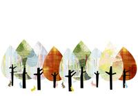 カラフルな木々とうさぎ 02427000217| 写真素材・ストックフォト・画像・イラスト素材|アマナイメージズ