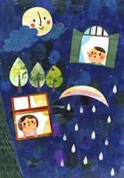 窓から月をながめる子供たち